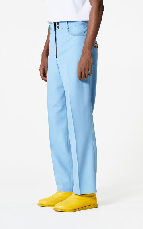 SKY BLUE Pleated straight-cut trousers for men KENZO