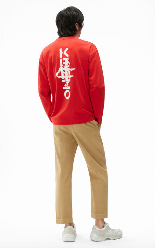 MEDIUM RED KENZO Ideogram' oversized T-shirt for men