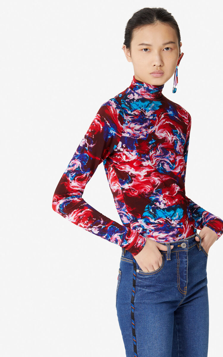 MEDIUM RED 'KENZO World' polo-neck top for women