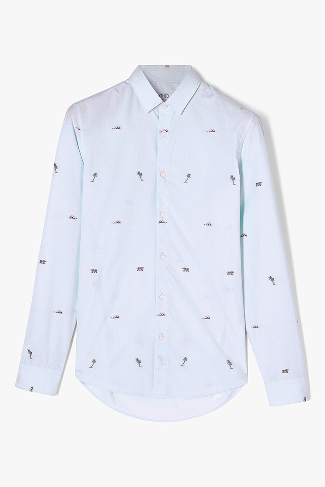 LIGHT BLUE 'Tropical Ice' Mini Logo Shirt for men KENZO