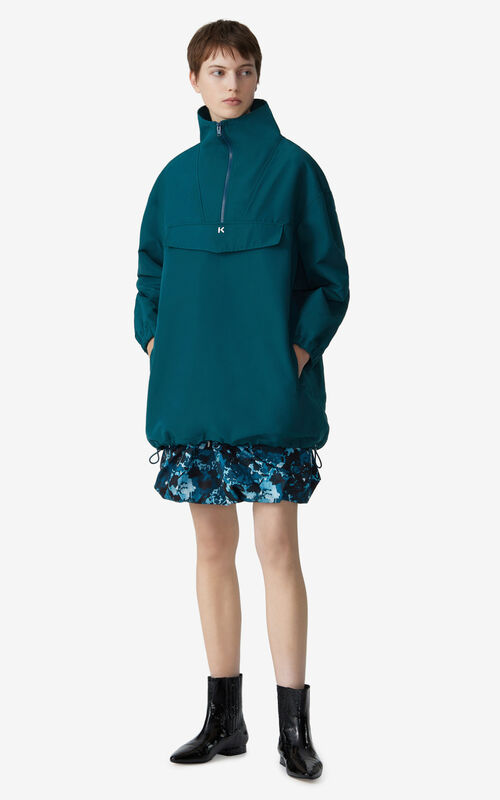 DUCK BLUE Hooded windbreaker for women KENZO