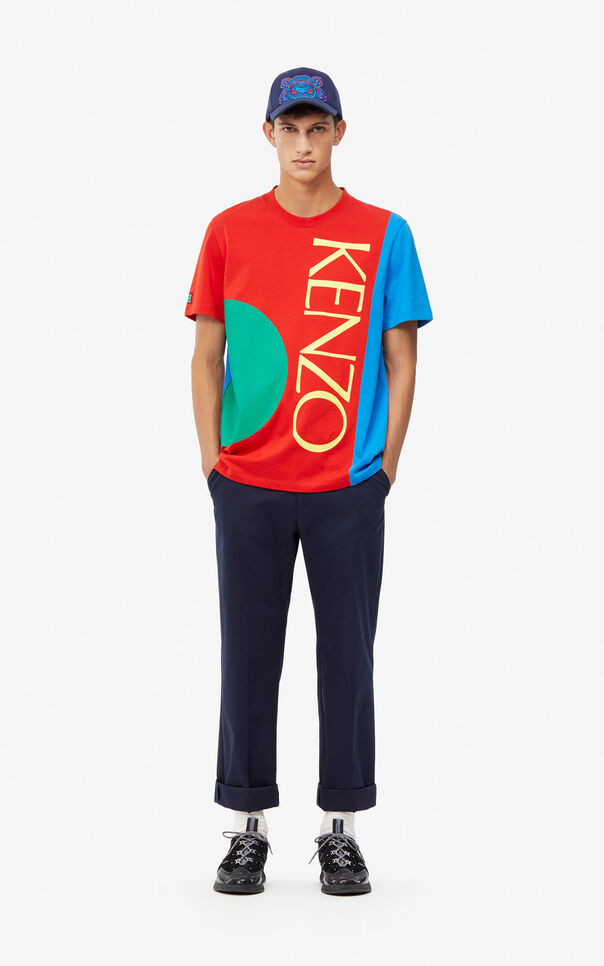 MEDIUM RED 'Square Logo' T-shirt for men KENZO