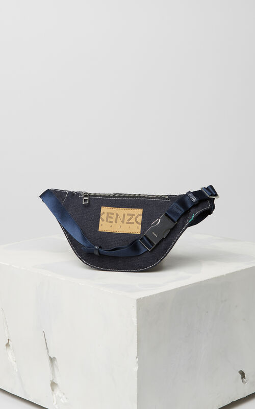 NAVY BLUE Denim 'Bamboo Tiger' bumbag for unisex KENZO