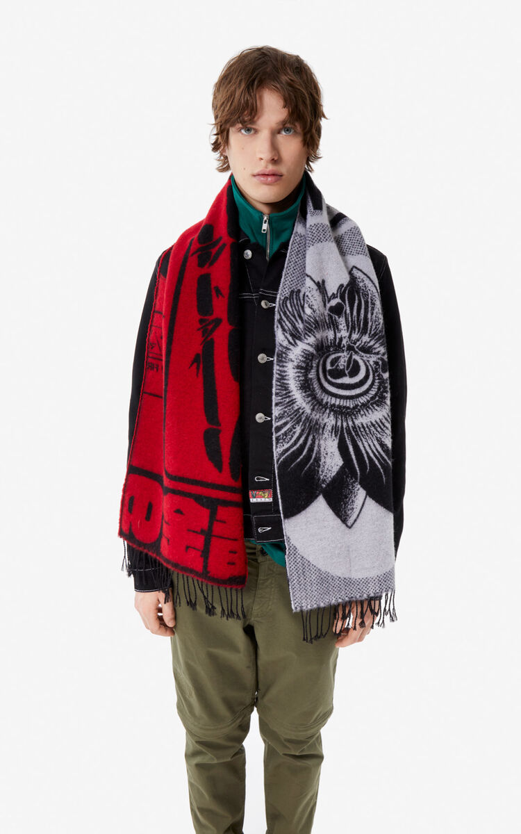MEDIUM RED 'Rice Bags' scarf for women KENZO