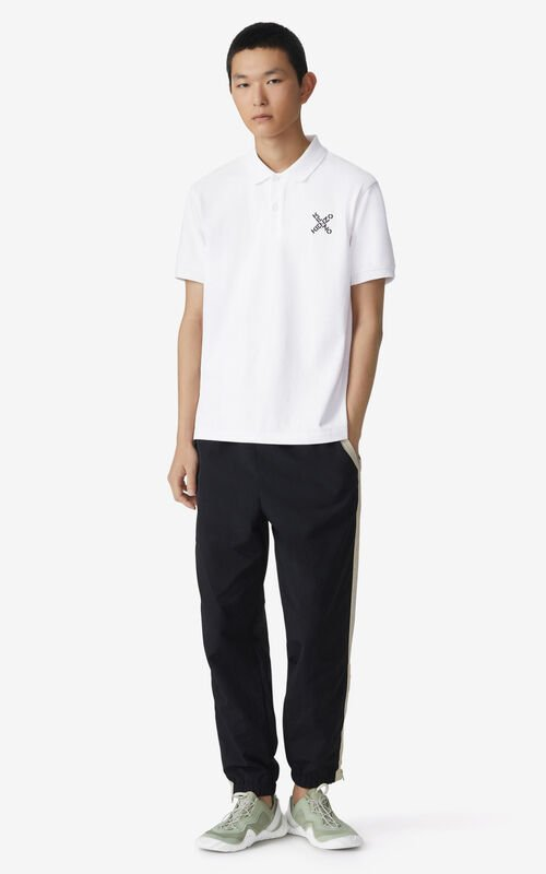 WHITE KENZO Sport 'Little X' polo shirt  for men