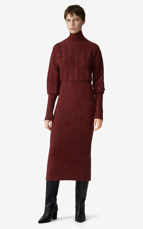 BORDEAUX Textured knit dress for women KENZO