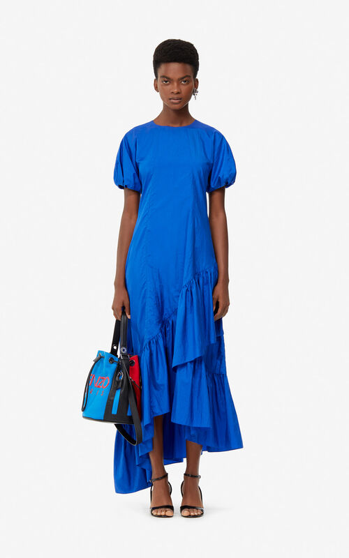 FRENCH BLUE Long frilled dress for women KENZO