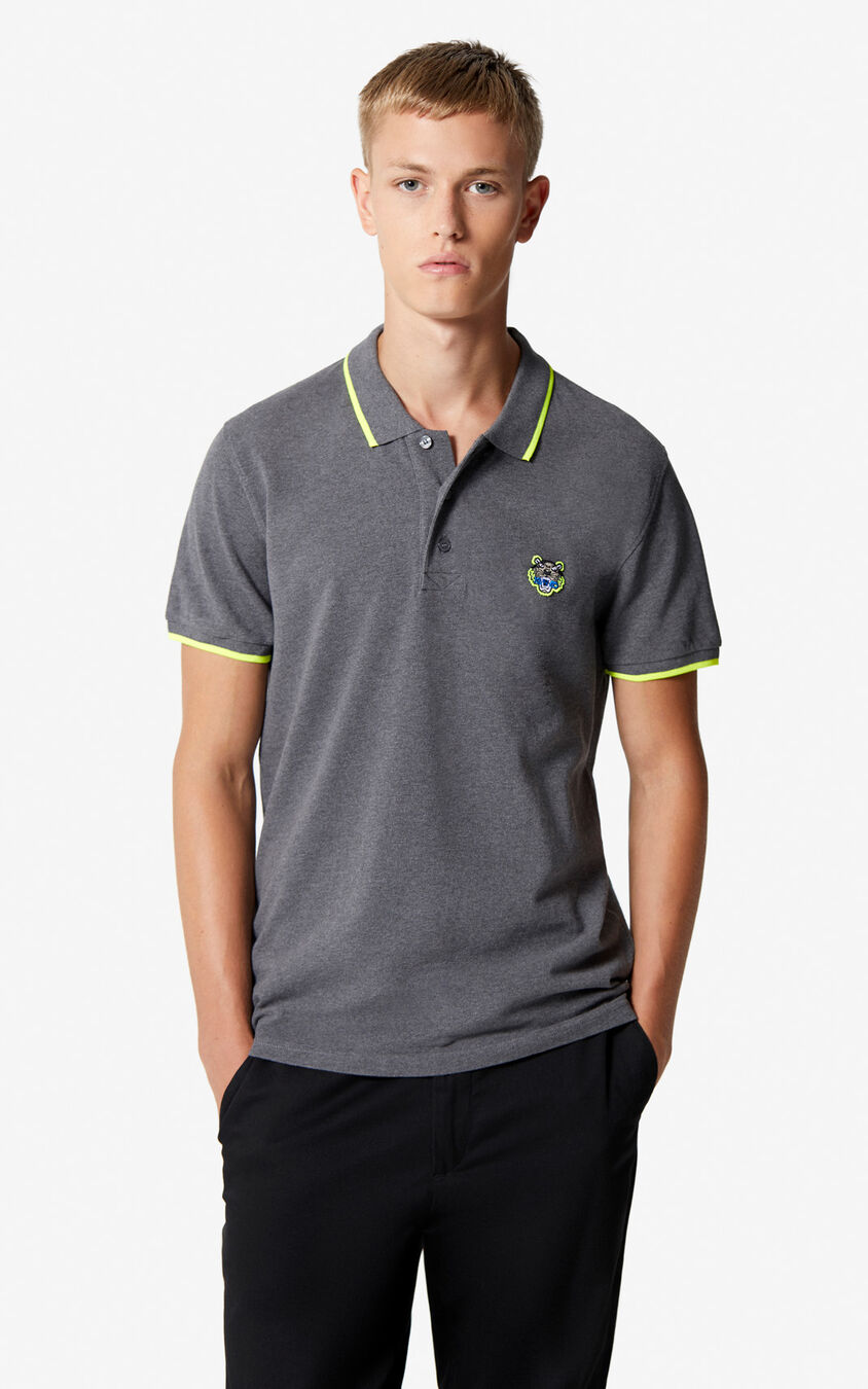 DARK GREY Tiger Polo Shirt for men KENZO
