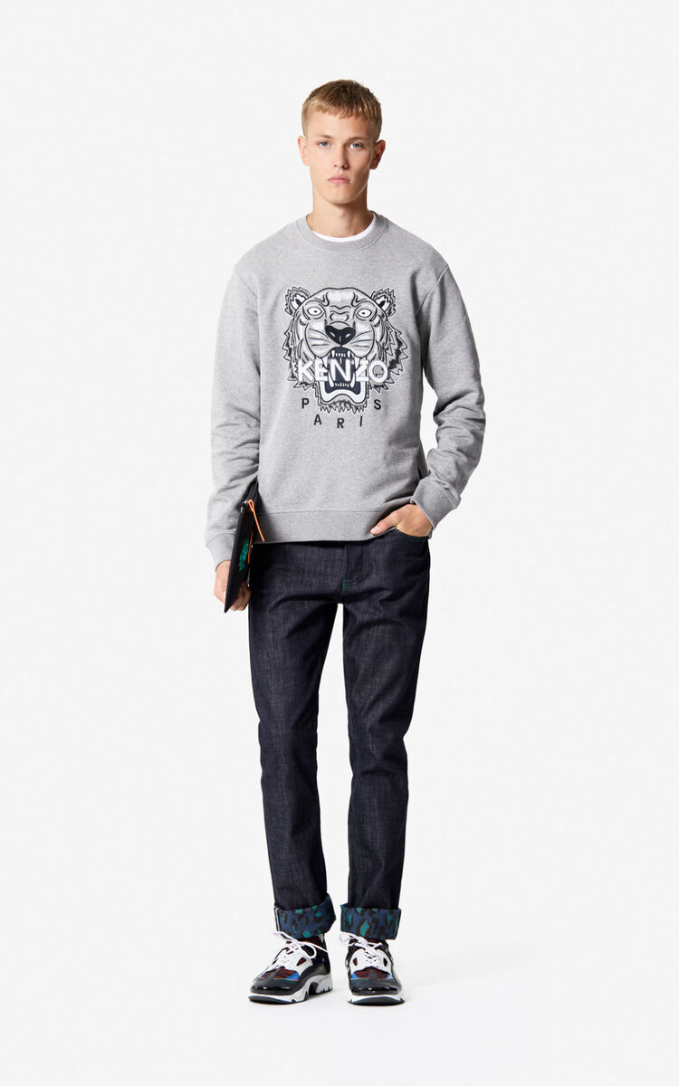 DOVE GREY Tiger sweatshirt for men KENZO