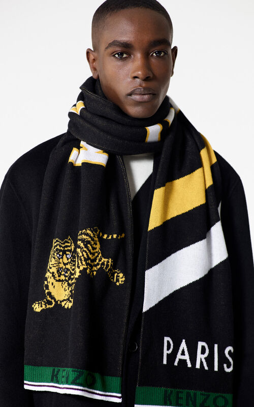 BLACK 'Jumping Tiger' sporty scarf for women KENZO