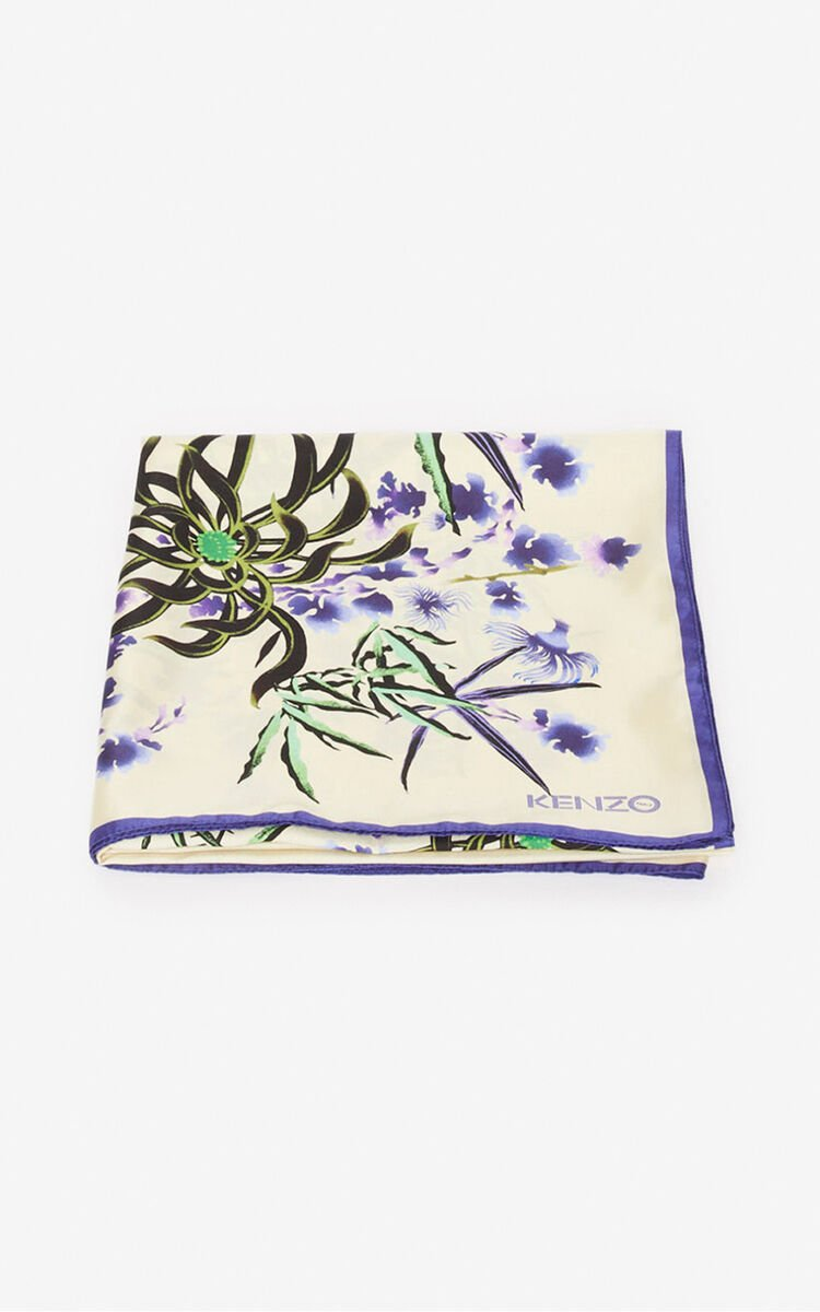 OFF WHITE 'Sea Lily' silk square for unisex KENZO