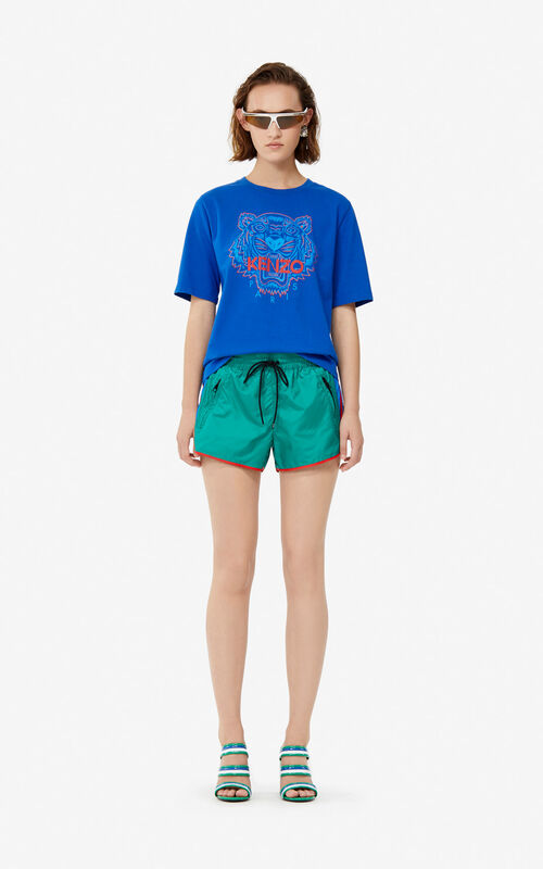 GRASS GREEN Retro colorblock shorts for women KENZO