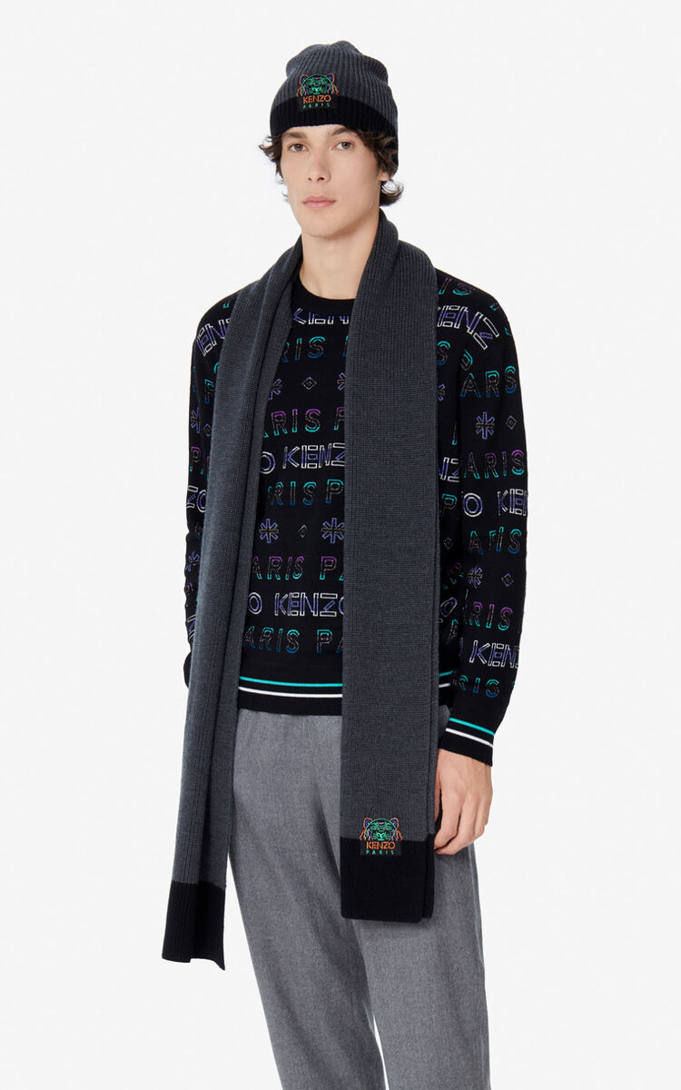 ANTHRACITE Two-tone Tiger scarf for unisex KENZO