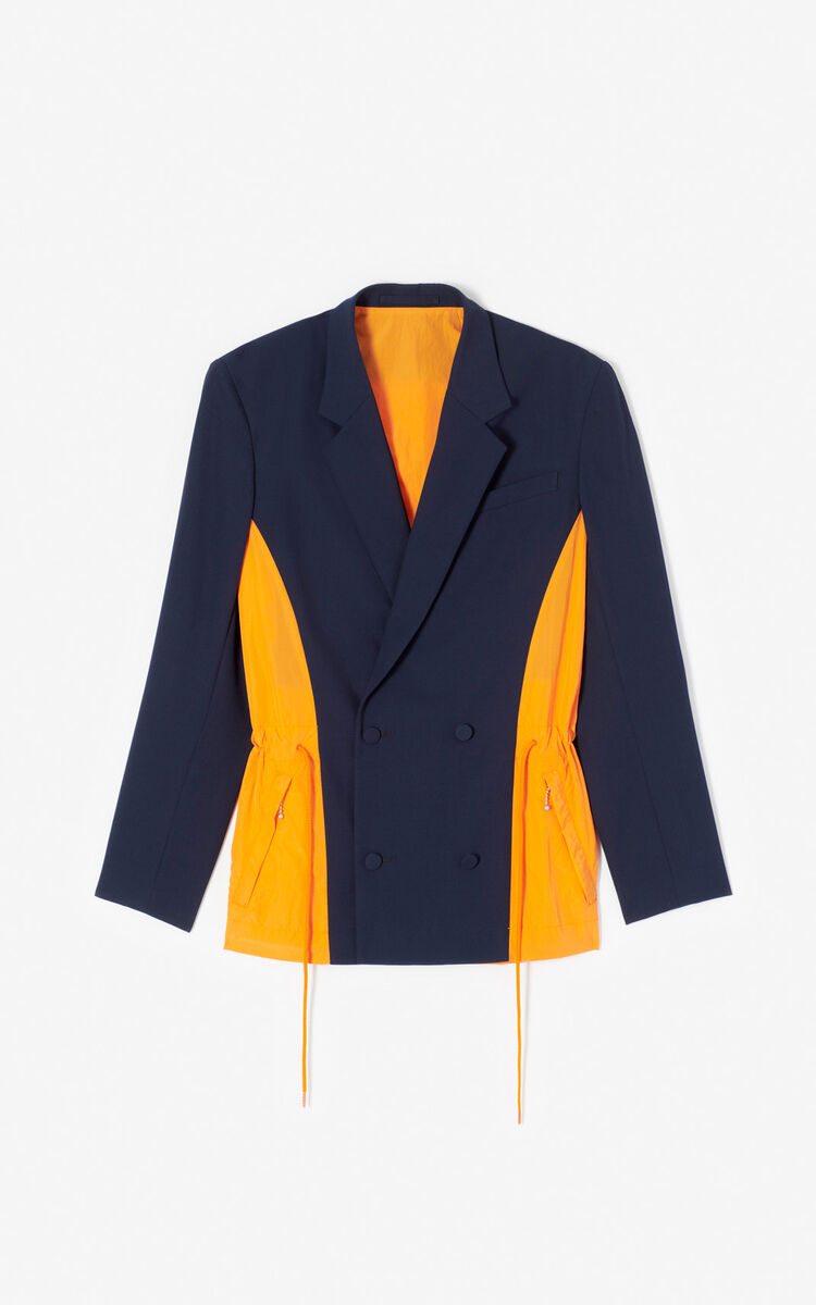 MIDNIGHT BLUE Colorblock dual material jacket for men KENZO