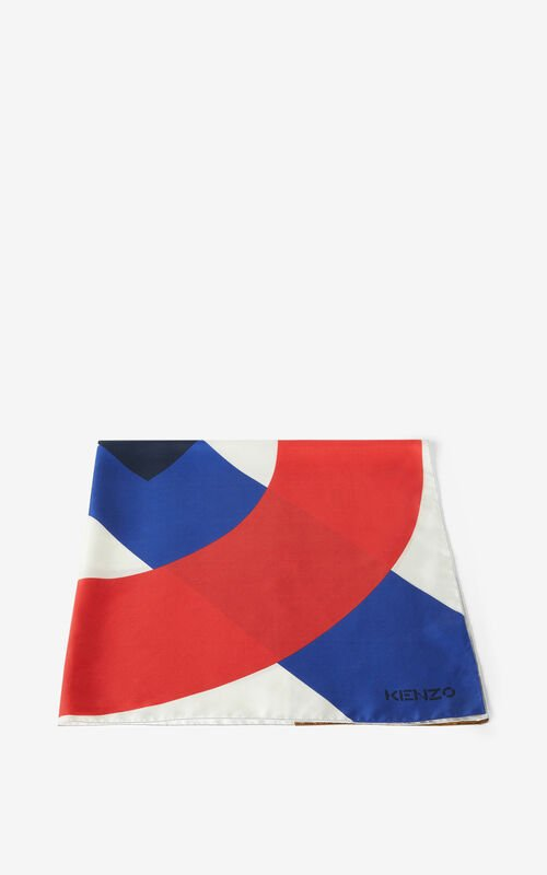 RED ORANGE KENZO Flag silk square for unisex