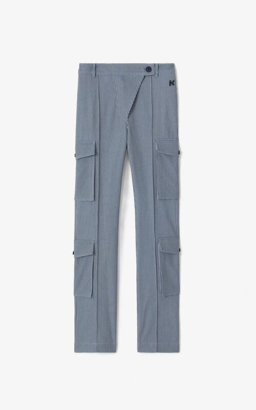 PEARL GREY Flared cargo trousers for unisex KENZO