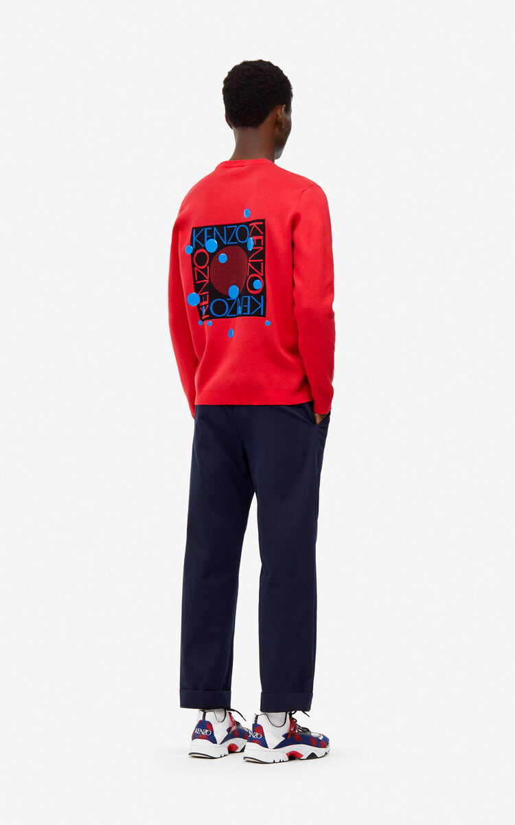 MEDIUM RED 'Dots' jumper for men KENZO