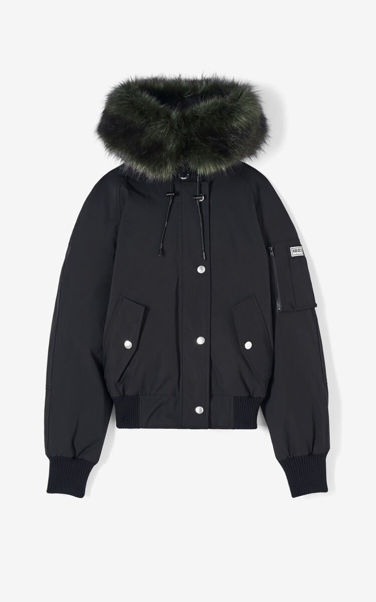 BLACK Short parka jacket with hood for women KENZO