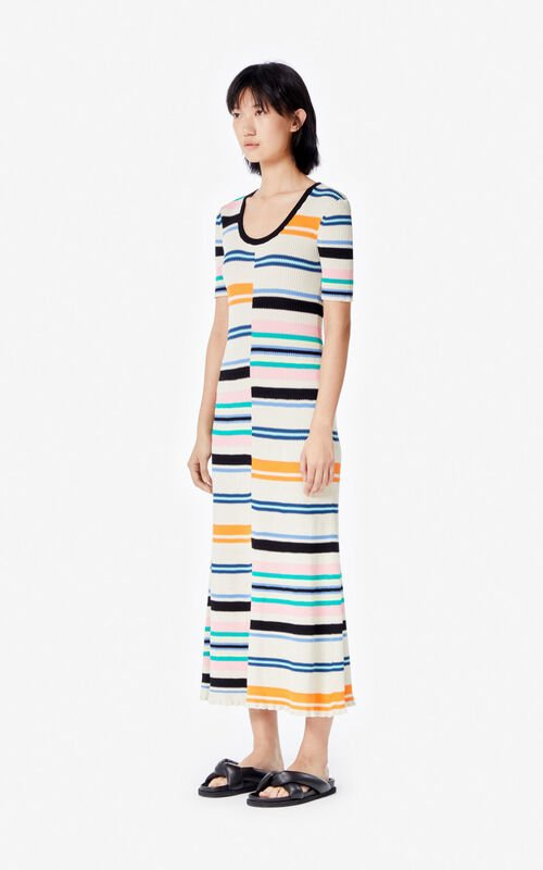 MULTICOLOR Long striped dress for women KENZO