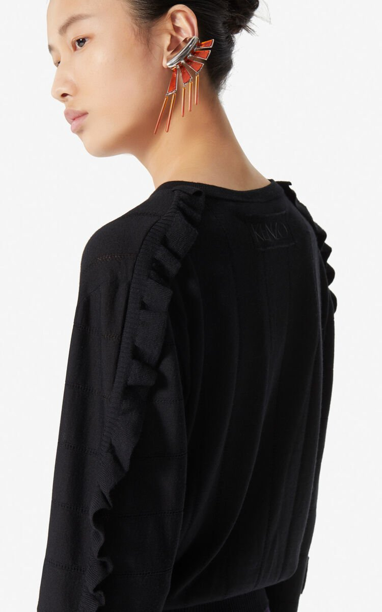 BLACK Ruffled wool and silk cardigan for women KENZO