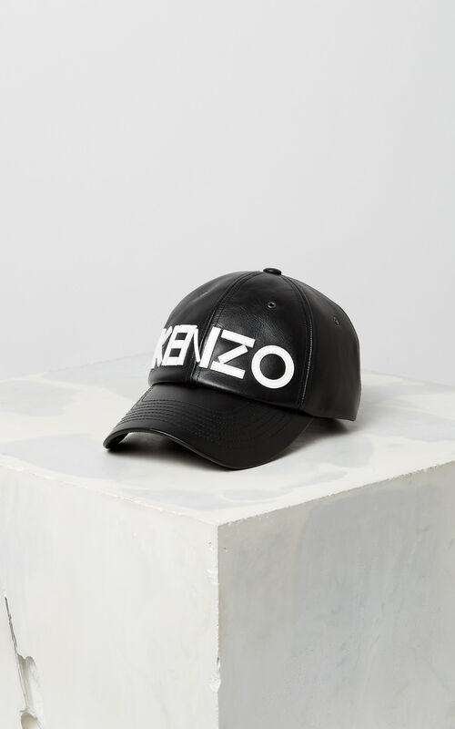 BLACK Leather cap KENZO Paris for unisex ... 3eddf0e6dd7