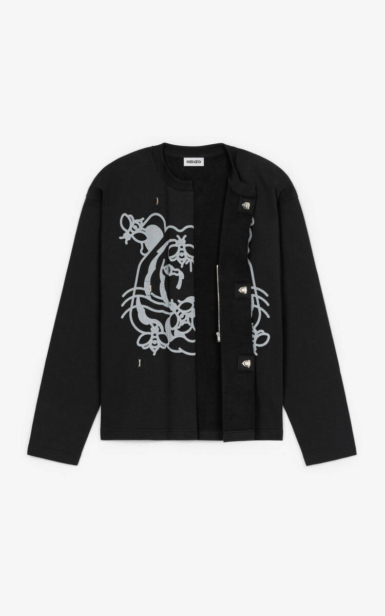 BLACK 'Bee a Tiger' Cardigan for men KENZO