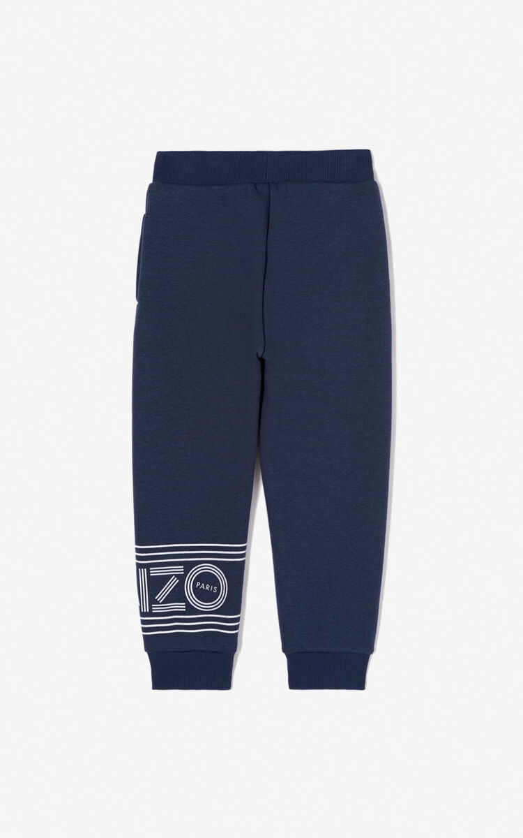 NAVY BLUE KENZO logo jogging trousers for women