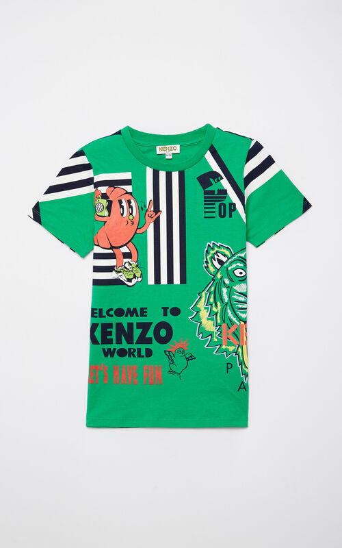 GREEN Multi-logo t-shirt for women KENZO