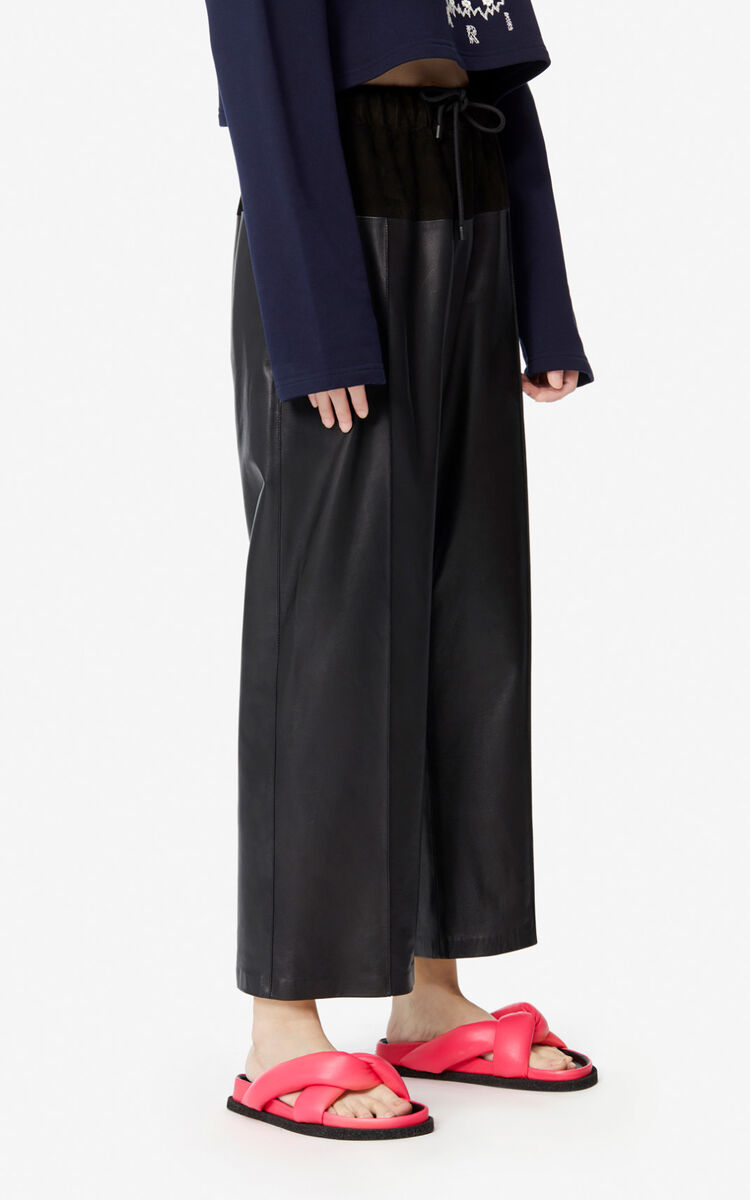 BLACK Leather culottes for women KENZO