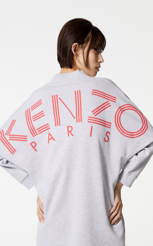 PALE GREY KENZO Logo sweatshirt dress for women