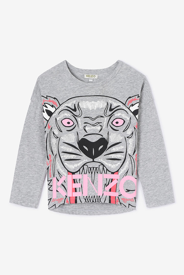 PEARL GREY Tiger Long T-shirt for women KENZO