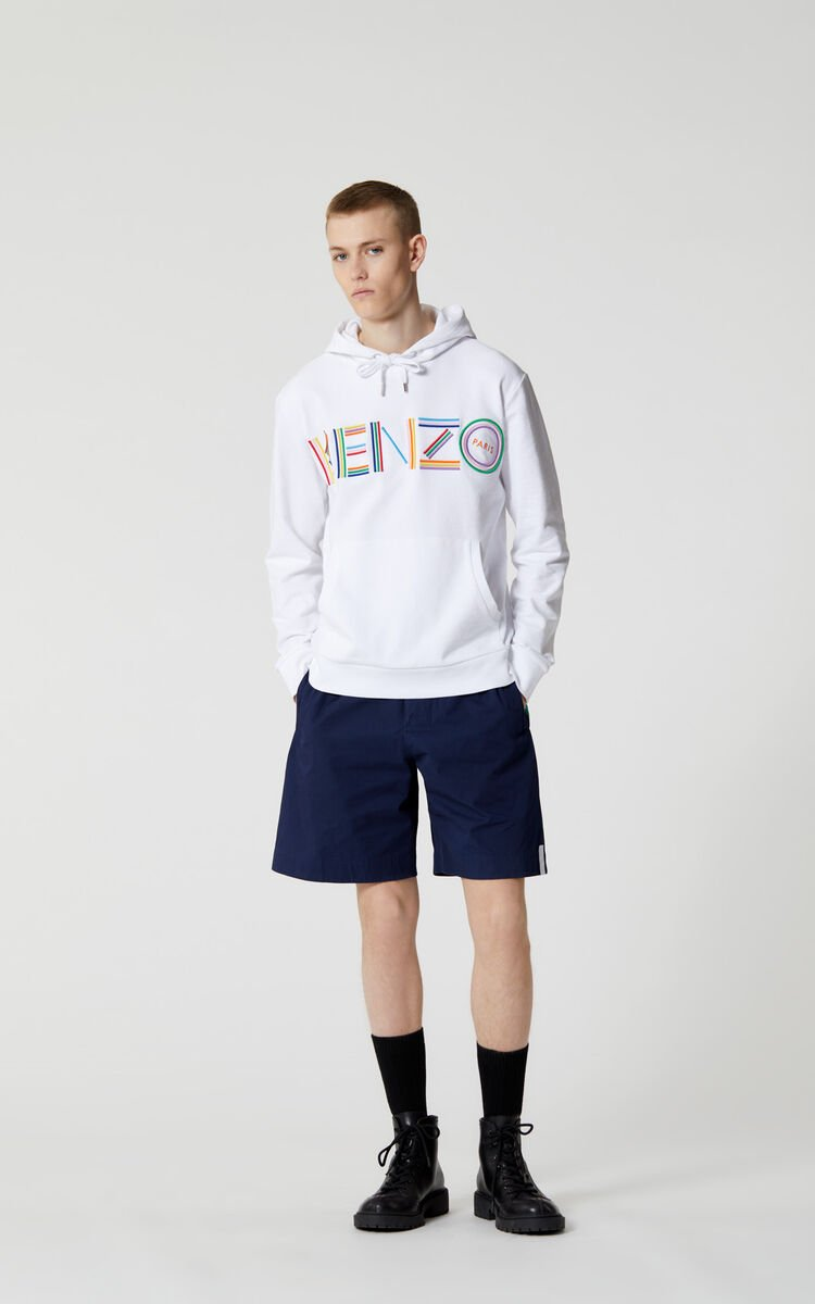 WHITE 'High Summer Capsule Collection' KENZO Logo hooded sweatshirt for men
