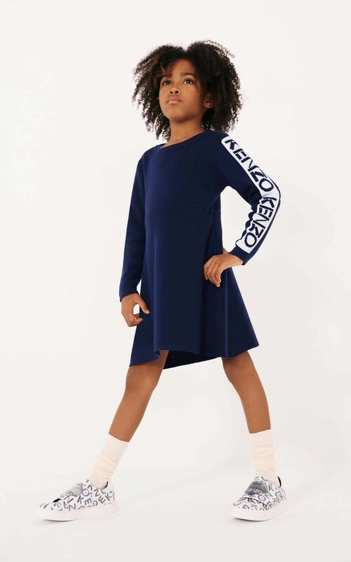 NAVY BLUE KENZO Sport wool dress for women