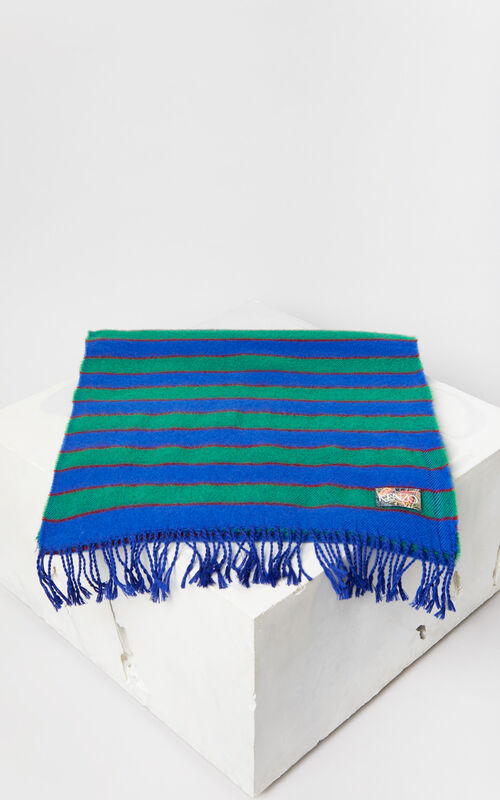 FRENCH BLUE Striped wool scarf for unisex KENZO