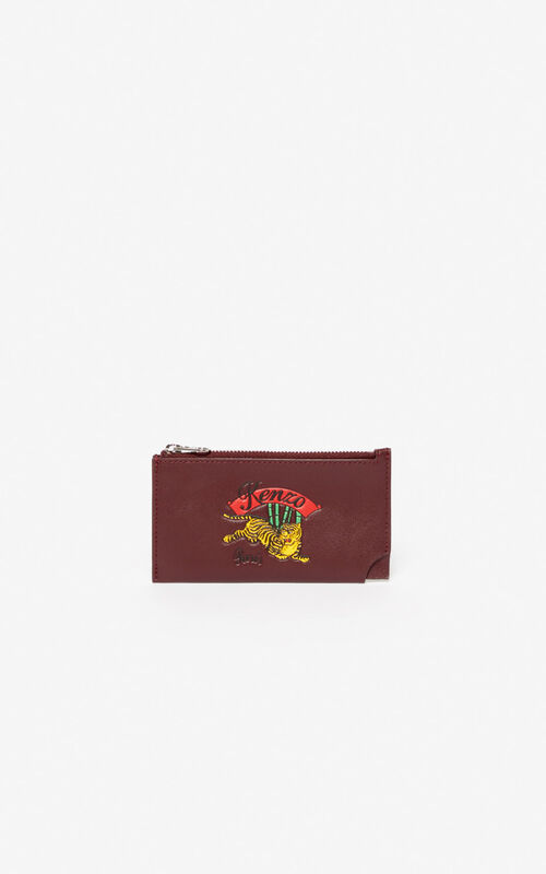 BORDEAUX 'Jumping Tiger' Zipped leather card holder for men KENZO