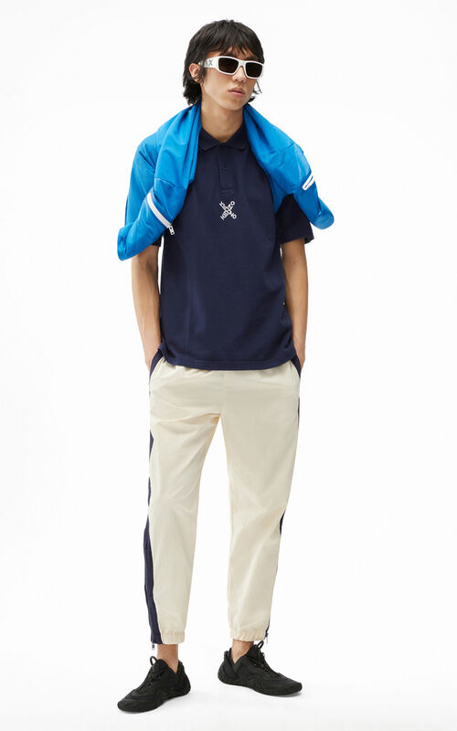 MIDNIGHT BLUE KENZO Sport 'Blocked K' oversize polo for men