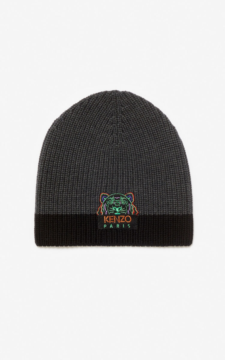ANTHRACITE Two-tone Tiger knit cap for men KENZO
