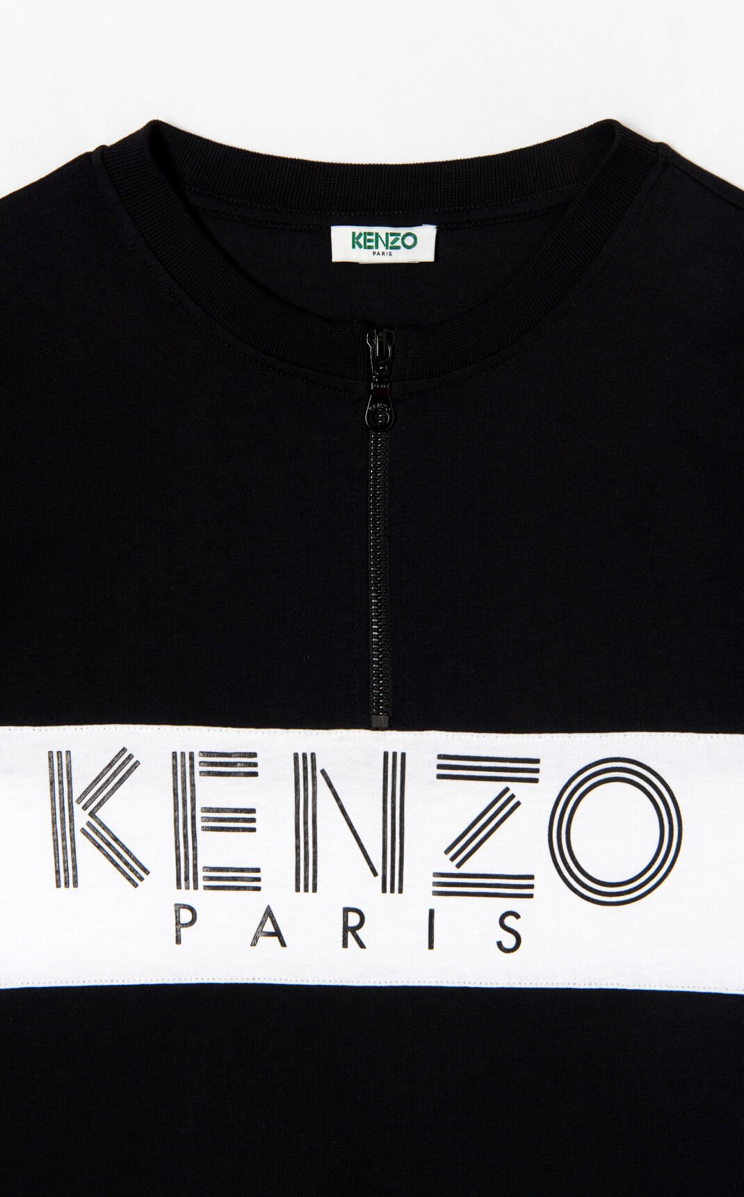 BLACK Two-tone KENZO Paris zip dress for women