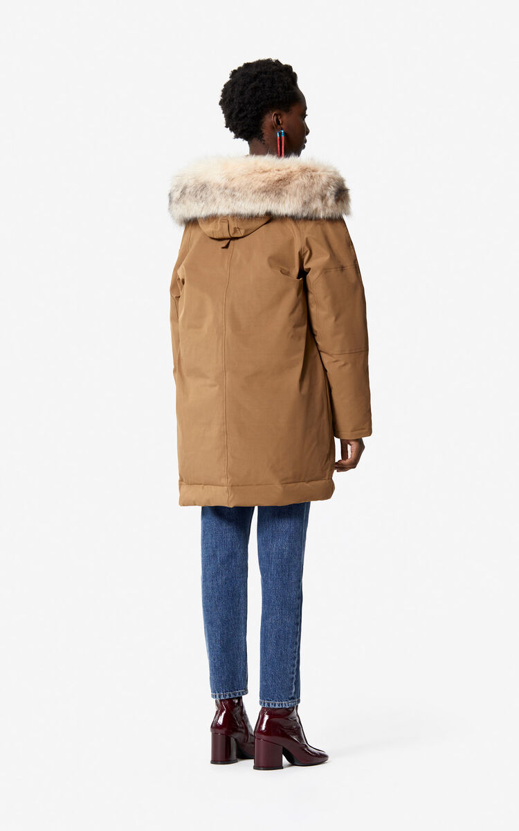 DARK CAMEL Long hooded 'Puffa' parka for women KENZO