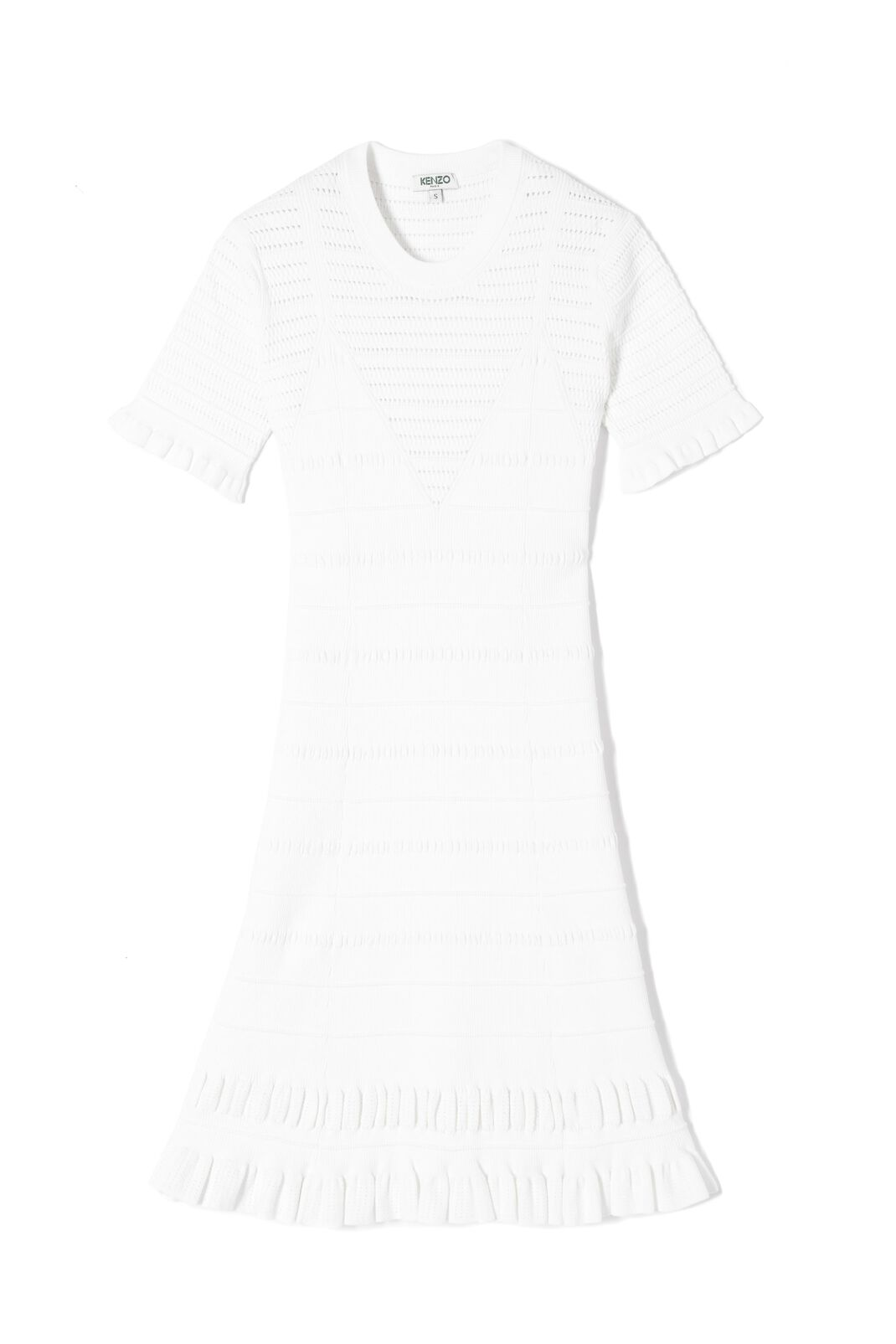 WHITE Short mesh openwork dress for women KENZO