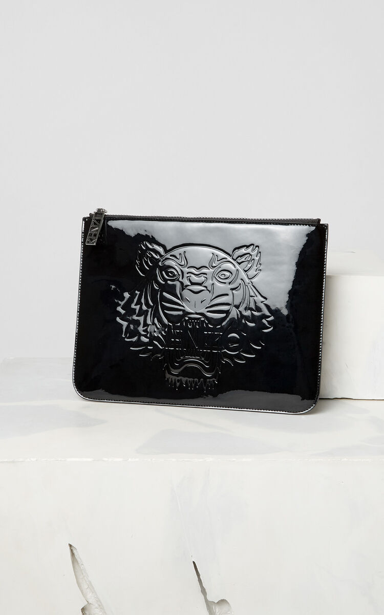 BLACK A4 Tiger patent clutch bag for women KENZO