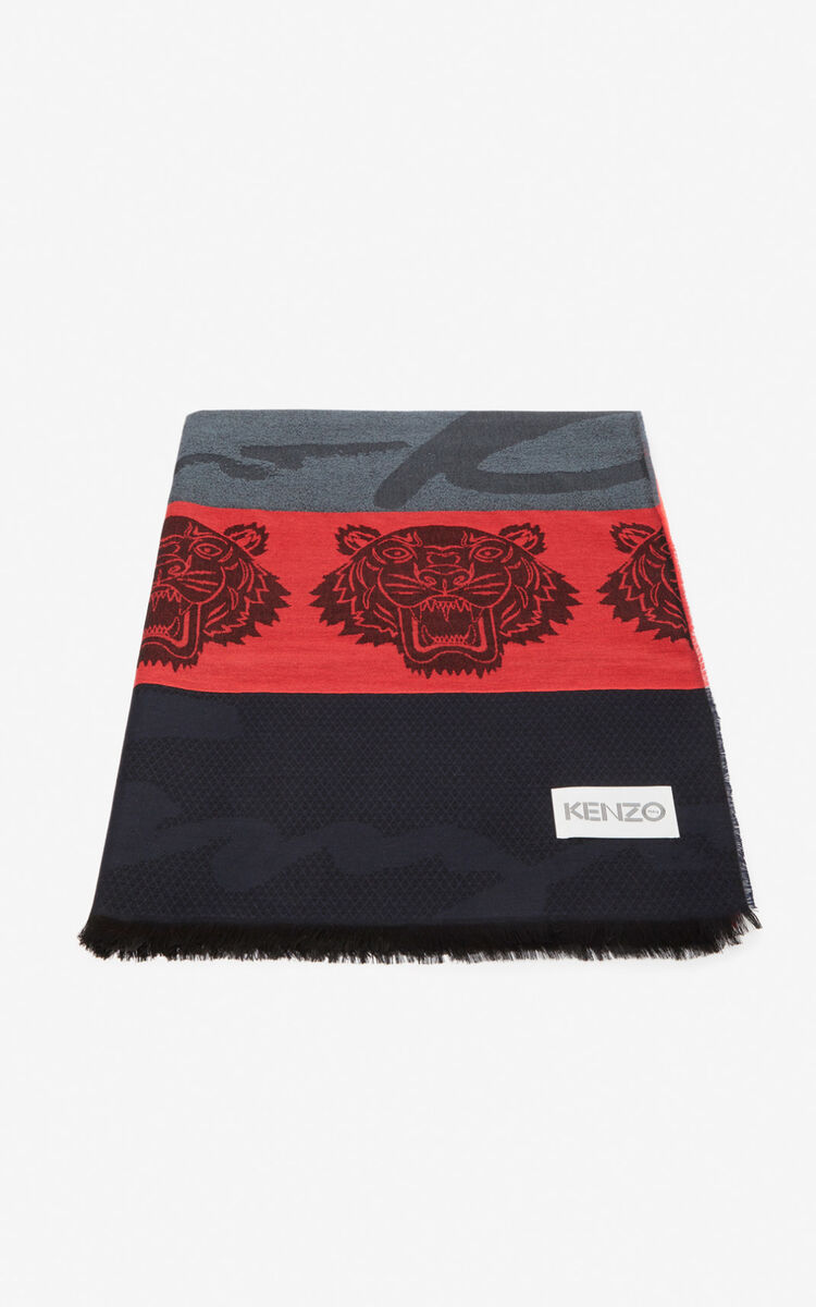 MEDIUM RED Multi Icons scarf for unisex KENZO
