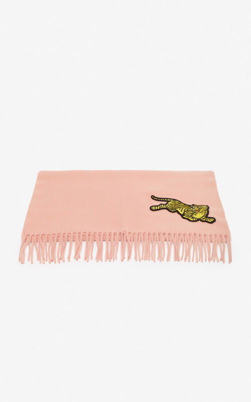 PASTEL PINK 'Jumping Tiger' wool scarf for unisex KENZO