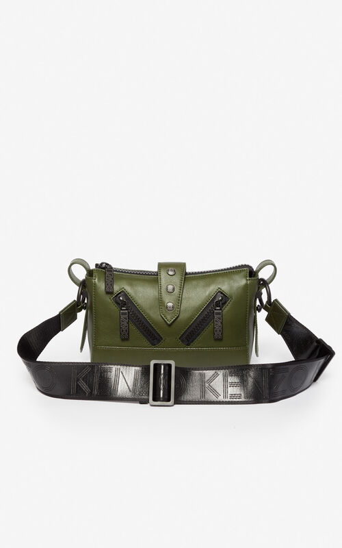 DARK KHAKI Mini Kalifornia Sport leather bag for women KENZO