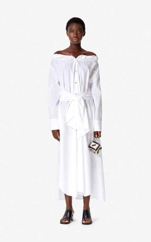 WHITE Belted maxi dress for women KENZO