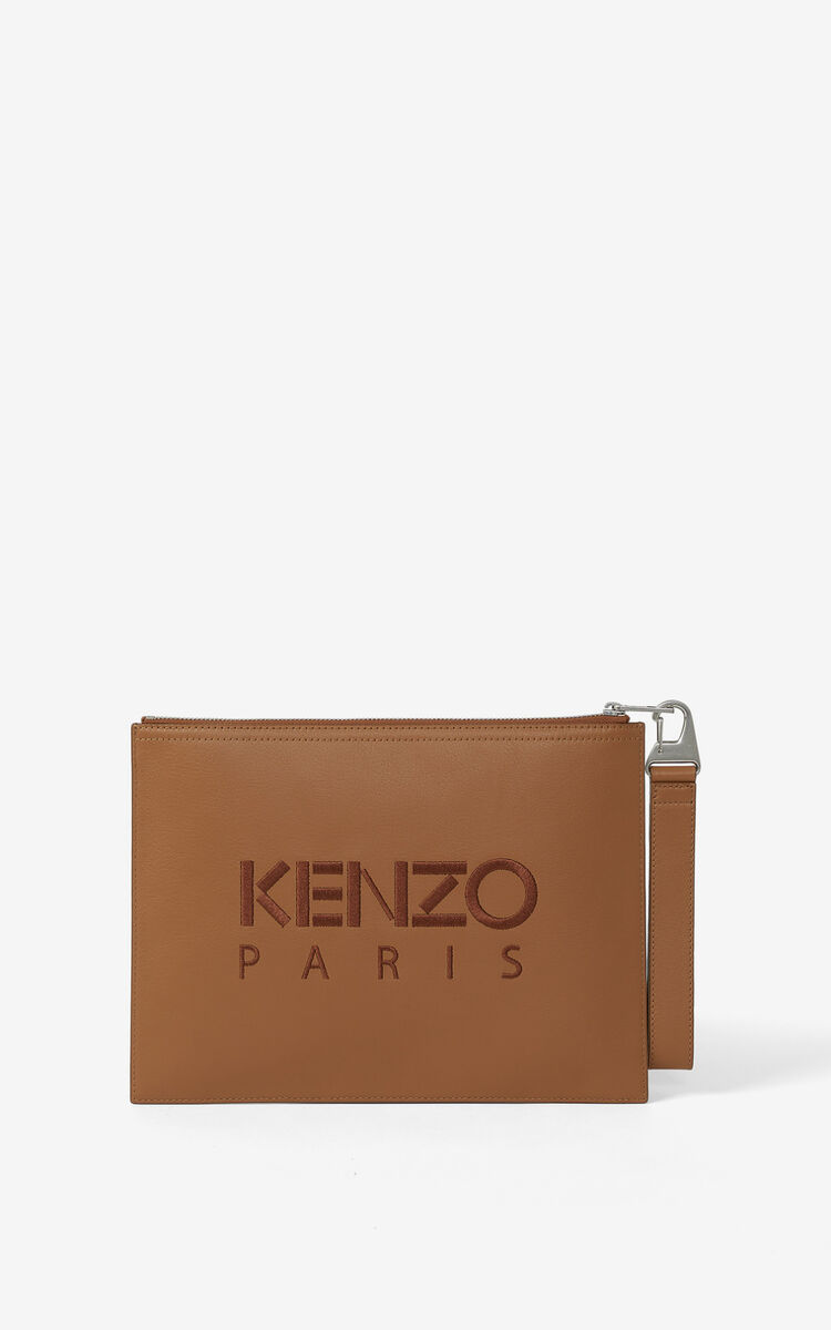 TABAC Kampus Tiger large grained leather clutch for unisex KENZO