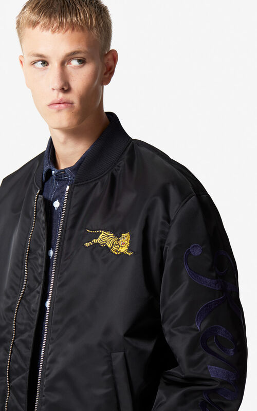 BLACK 'Jumping Tiger' bomber for men KENZO