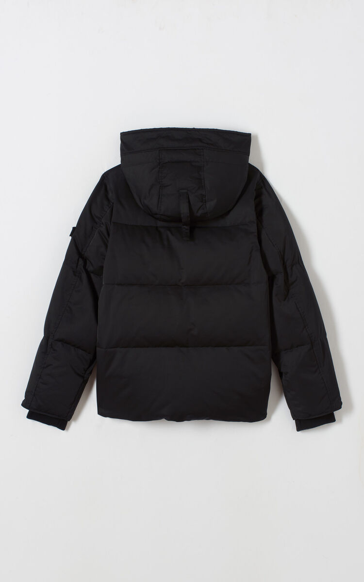 BLACK Hooded quilted down jacket for women KENZO