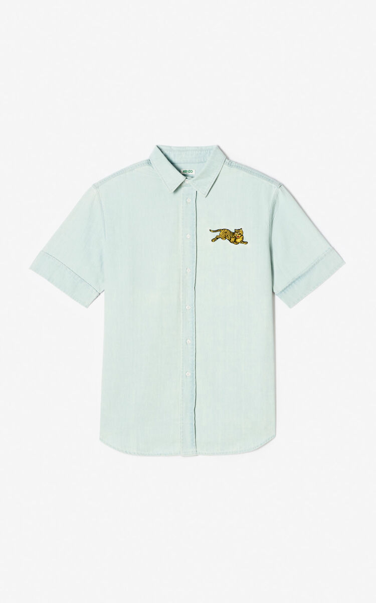 LIGHT BLUE 'Jumping Tiger' slim-fit denim shirt for men KENZO