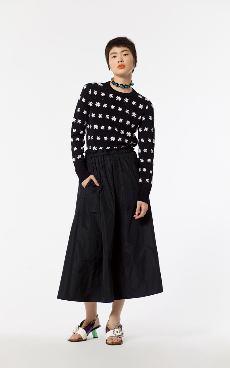 BLACK Flared skirt for women KENZO